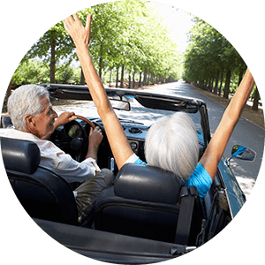 couple free of back pain while driving