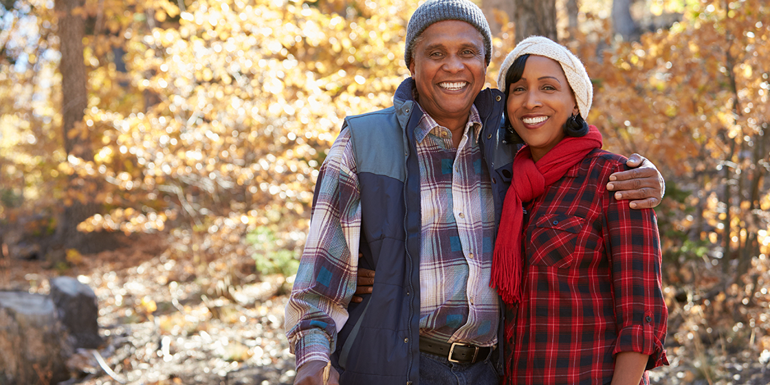 senior couple enjoying nature during winter, without back pain