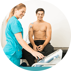man receiving electrotherapy for muscle pain