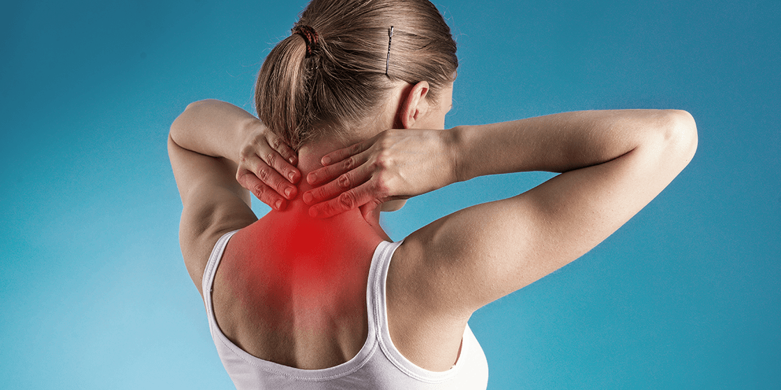 woman with cervical herniated disc and neck pain